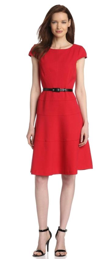 Anne Klein Women S Cap Sleeve Scoopneck Solid Dress