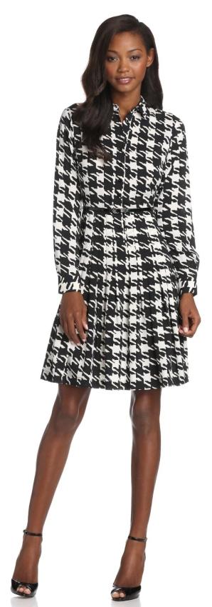 Calvin Klein Women's Long Sleeve Herringbone Shirt Dress