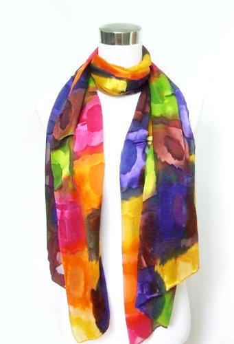 ChiffonSatin Blend BluePinkGold Rainbow Square Print  Scarf