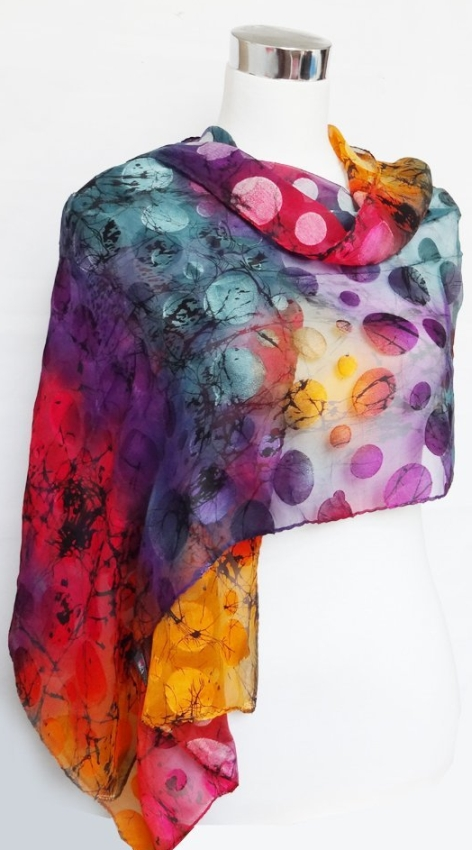Chiffon Satin Blend Multicolored Polka Dot Print Raluca