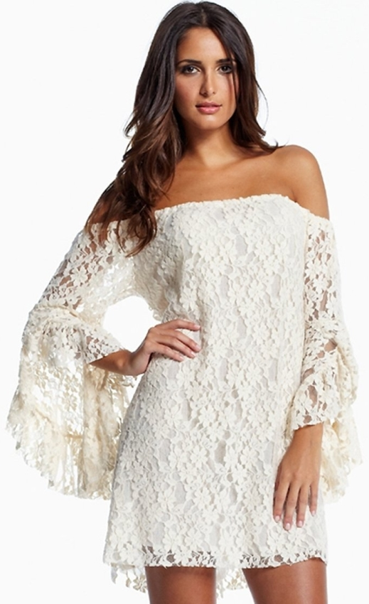 Lace Look Dress Off Shoulder Bell Sleeve