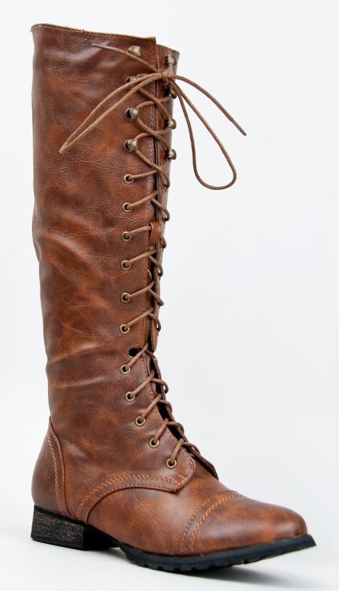 Knee High Stacked Heel Military Combat Boot