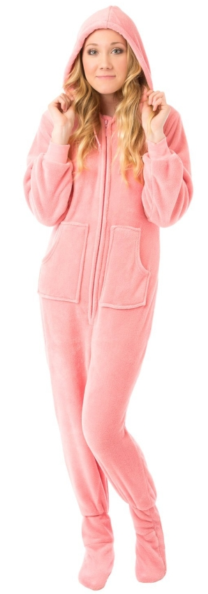 Pink Hoodie Plush Footed Pajamas wDrop Seat
