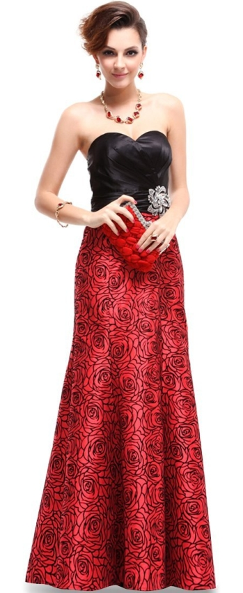 Red Satin Floral Printed Ruffles