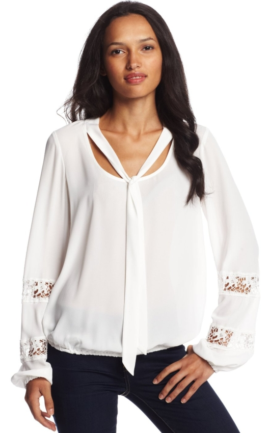 Tie Front Lace Insert Peasant Blouse