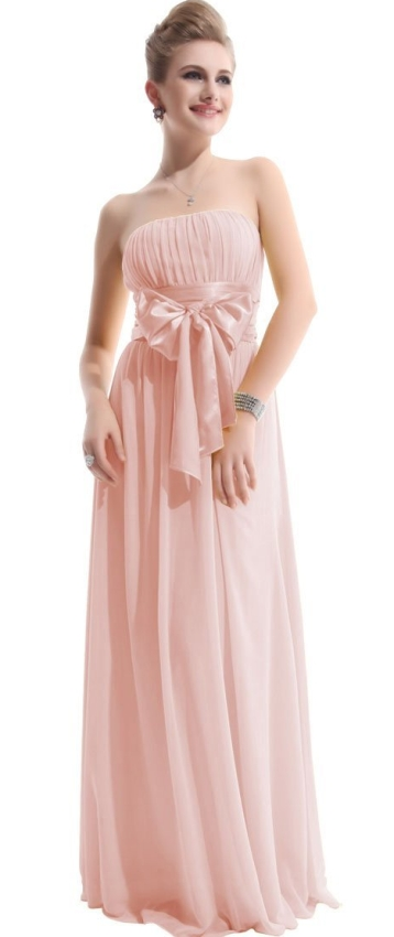 Waist Bowtie Strapless Evening Dress