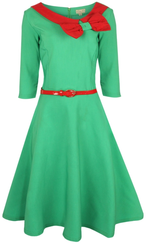 Parisian Style Three Quarter Sleeve Bow Dress