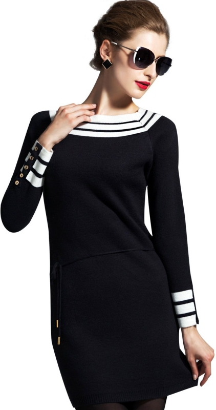 Wool Cotton-Blend Knitted Sweater Dress