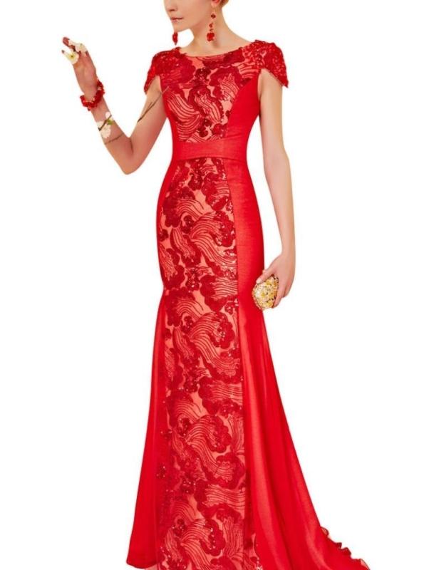 Sleeves Evening Dress