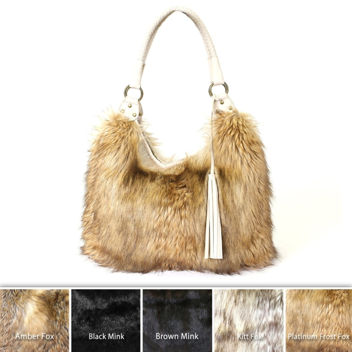 Faux Fur Hobo Handbag