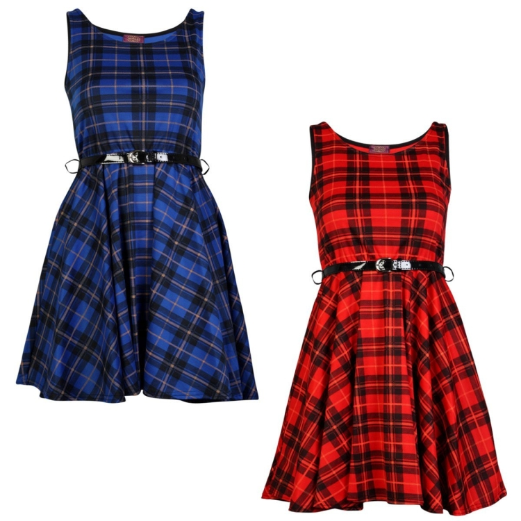 Ladies Checked Belted Peplum Skater Dress