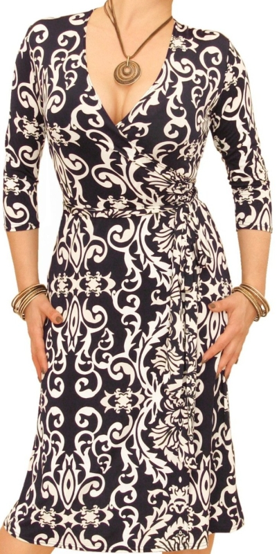 Navy and Ivory Print Wrap Dress