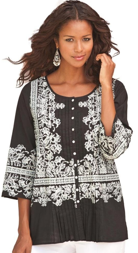 Plus Size Embroidered Print Bigshirt
