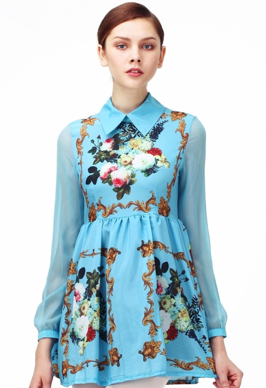 Sheer Long Sleeves Floral Dress