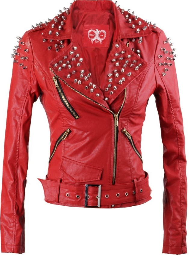 Spike Stud Leather Slim Fit Motorcycle Jacket Sexy Coat