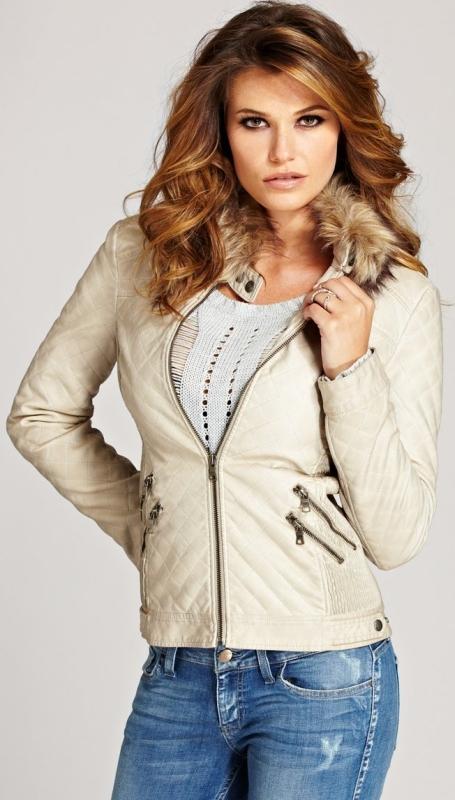 Vintage Effect FauxLeather Jacket