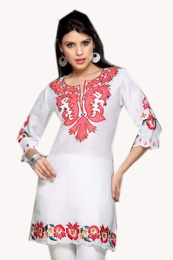 White Cotton Tunic Flower Embroidered Top