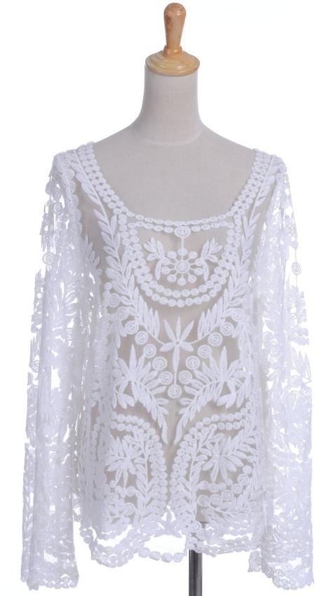 Anna-Kaci White Embroidered Top