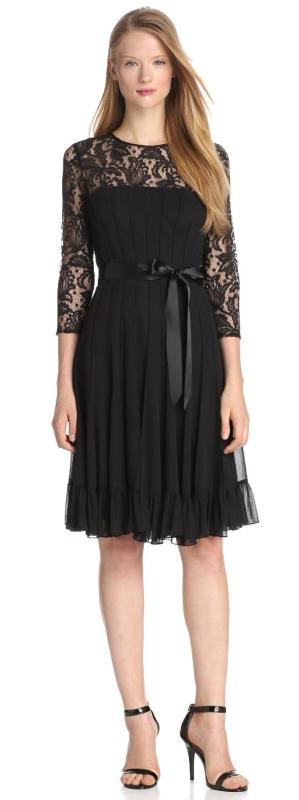Womens Lace Chiffon Flare with Sash Dress
