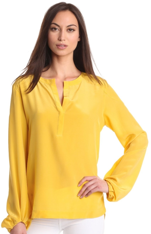 Womens Washed Silk Blouson Sleeve Top