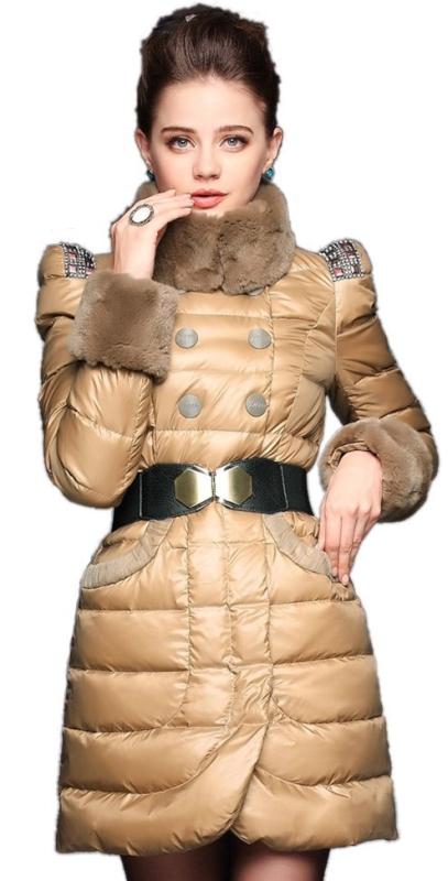 Womens Winter Rex Rabbit Collar Long Down Jacket
