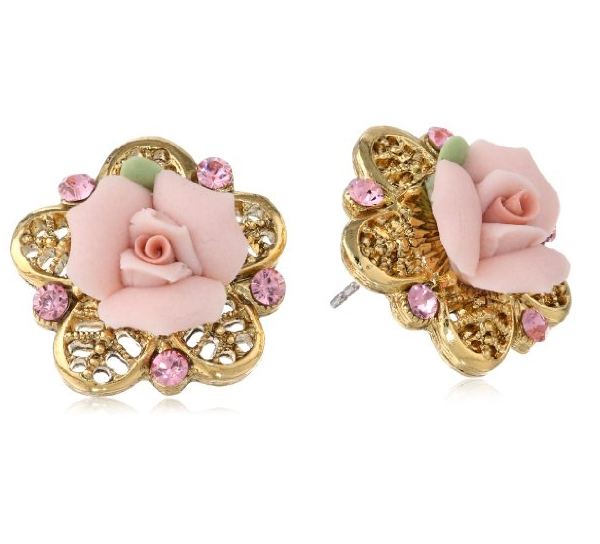 1928 Jewelry Porcelain Rose Gold-Tone and Pink Stud Earrings