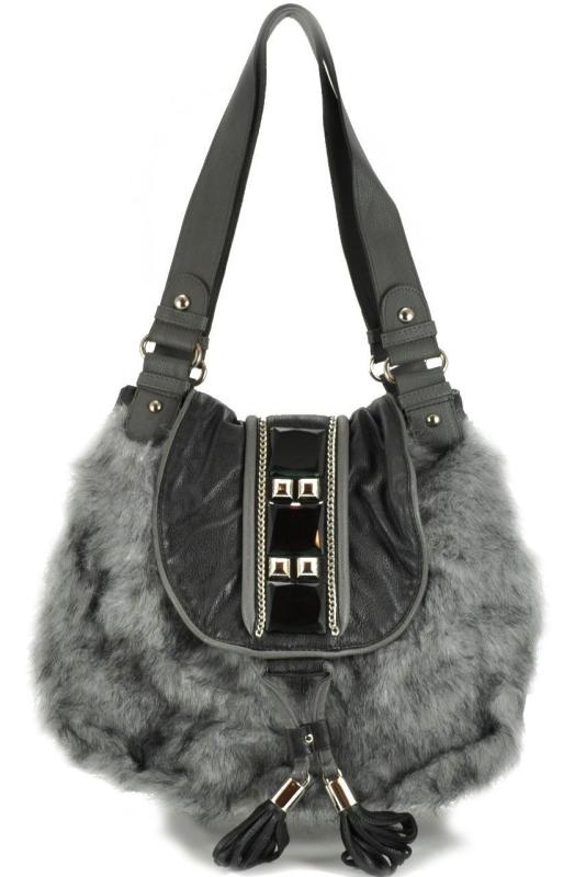 Aisha Grey Faux Fur Hobo Shoulder Bag
