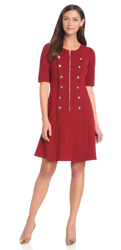 Elbow Sleeve Button Zip Dress