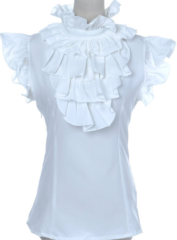 Elegant Ruffle Judge Collar and Capped Sleeve Fitted Top