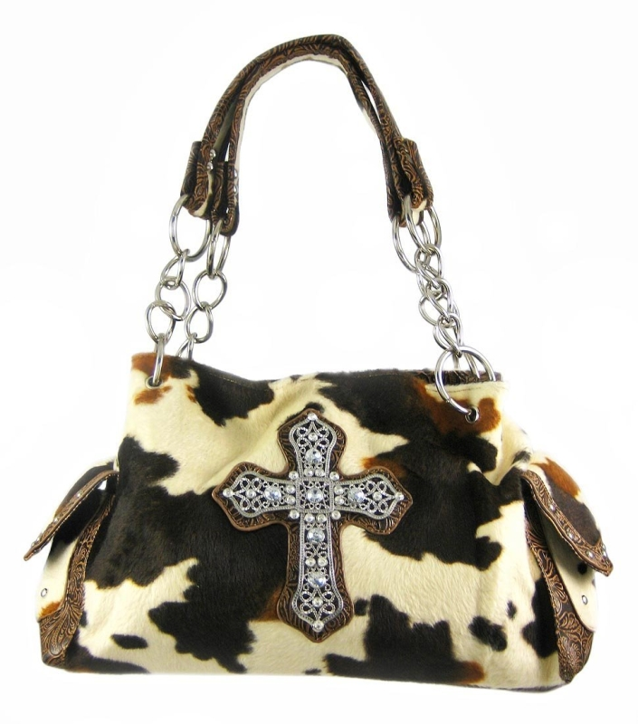 Faux Fur Cow Print Gothic Cross Studded Handbag