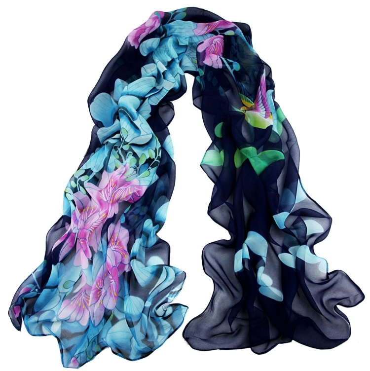 Floral Print Georgette Silk Feel Scarf Oblong Scarf