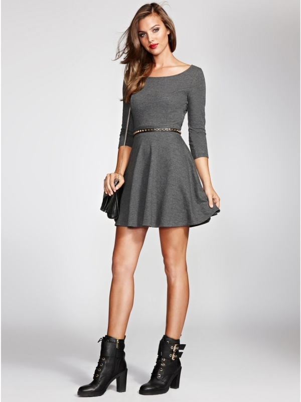 French Terry Fit-and-Flare Dress