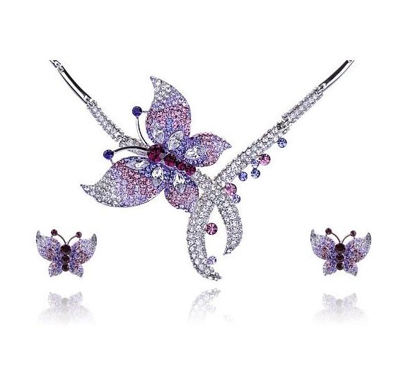 Purple Swarovski Necklace Earring Set