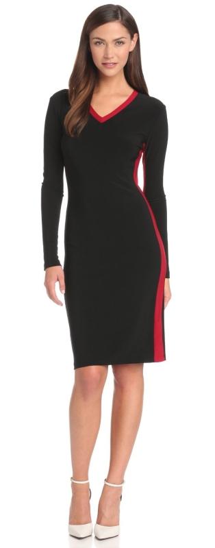 Side Stripe V-Neck Dress