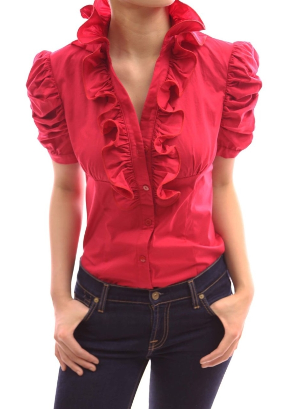 Sleeve Fitted Blouse Top