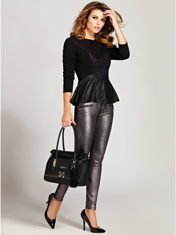 Snake Embossed Faux Leather Top Raluca Fashion