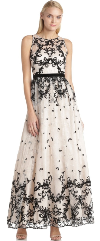 Adrianna Papell Womens Halter Flocked Tulle Gown