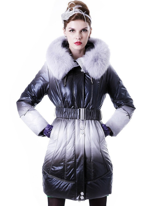 Fox Fur Trim Two-Tone Waterproof Shell Hooded Down Coat