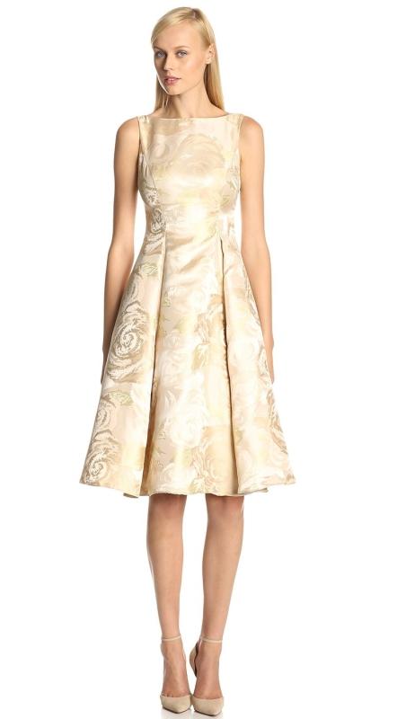Womens Sleeveless Tea-Length Dress