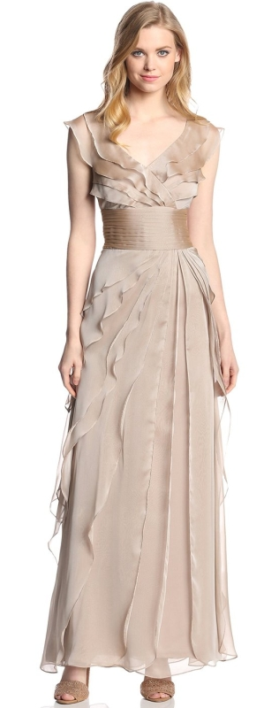 Womens Tiered Chiffon Gown
