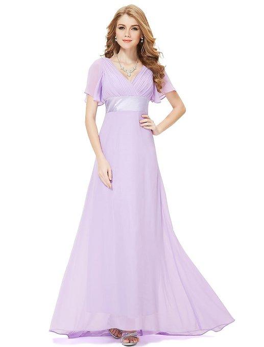 Ruffles Flutter Sleeve Evening Dress