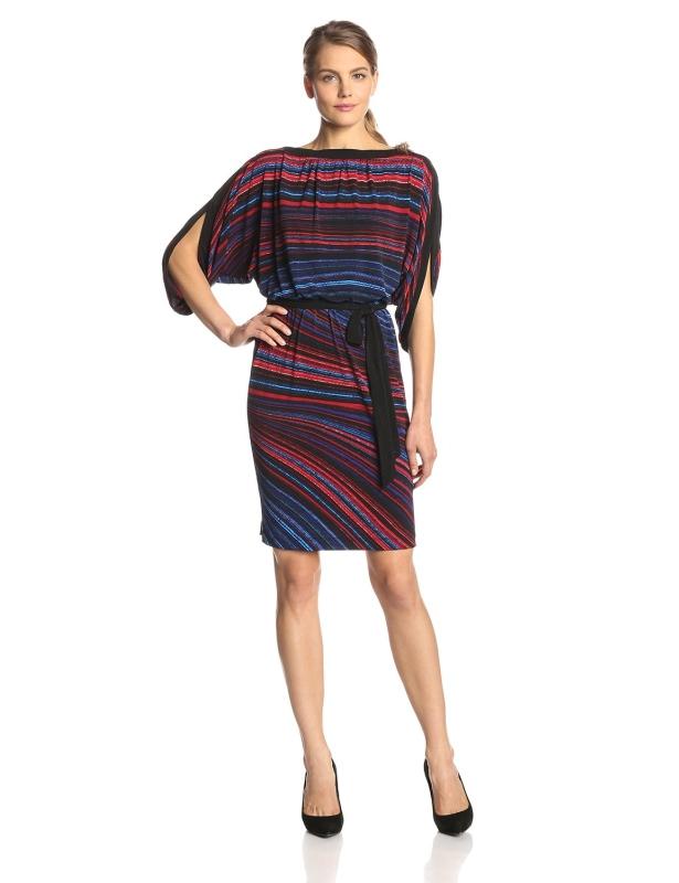 Sleeve Printed Blouson Dress