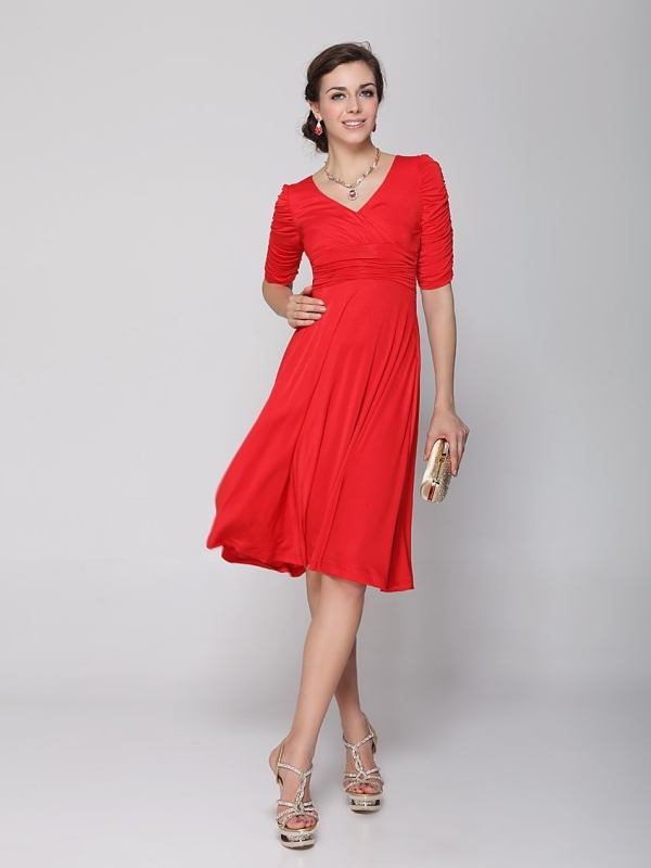Sleeve Ruched Waist Classy V Neck Casual Cocktail Dress