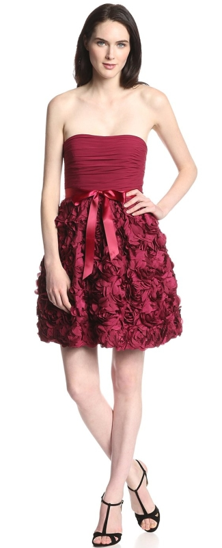 Women's Strapless Floral Fit and Flare Dress