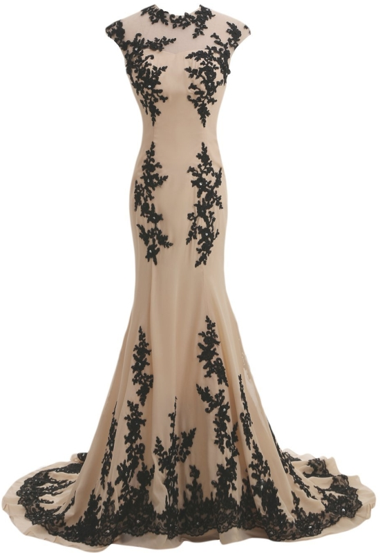 Champagne and Black Mermaid Mother of the Bride Dress