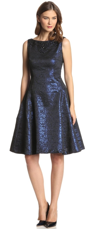 Metallic Beaded Fit-and-Flare Dress
