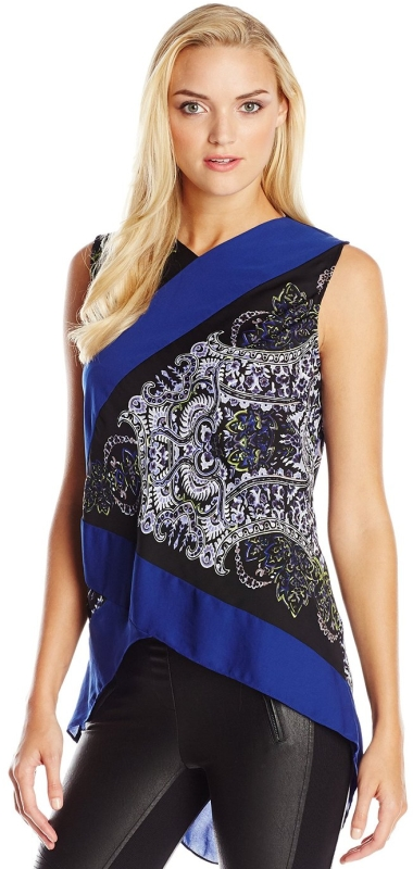 Print Blocked Asymmetrical V-Neck
