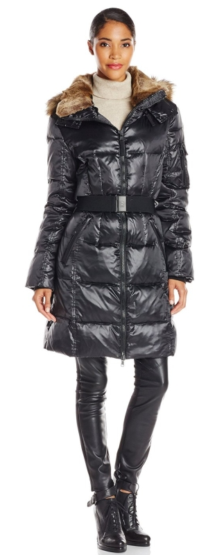 Women's Alpine Quilted Down Coat with Detachable Faux-Fur Trim Hood