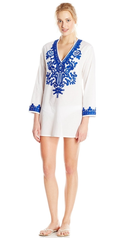 Bali Gardens V-Neck Tunic Cover Up with Soutache