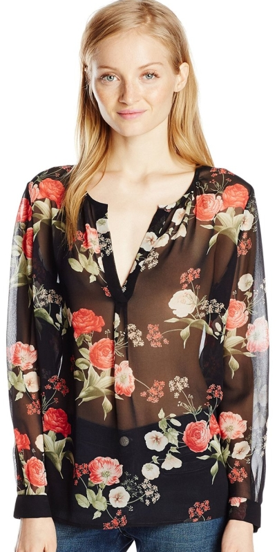 Botanical Floral Long-Sleeve Blouse